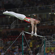Gymnastics - Olympics: Day 3  David Belyavskiy #176 of the Russian Federation performing his Horizontal Bar routine during the Artistic Gymnastics Men's Team Final at the Rio Olympic Arena on August 8, 2016 in Rio de Janeiro, Brazil. (Photo by Tim Clayton/Corbis via Getty Images)
