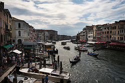 Looking south-west along the Grand Canal from the Ponte di Rialto, Venice, Italy.<br />