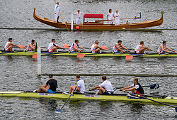 © Licensed to London News Pictures. 28/06/2017. London, UK. A group of people in a gondola watch a race at day one of the Henley Royal Regatta, set on the River Thames by the town of Henley-on-Thames in England.  Established in 1839, the five day international rowing event, raced over a course of 2,112 meters (1 mile 550 yards), is considered an important part of the English social season. Photo credit: Ben Cawthra/LNP