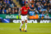 Manchester United Midfielder Ashley Young (18) on the ball and gestures to team mates to find space during the Premier League match between Leicester City and Manchester United at the King Power Stadium, Leicester, England on 3 February 2019.