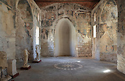Refectory with 3 apses, built early 14th century, in the Ardenica Monastery, an Eastern Orthodox monastery near Apollonia, Fier, Albania. The frescoes are by an unknown artist of the late Byzantine school, 14th century. The monastery was founded in 1282 by Andronikos II Palaiologos and is dedicated to the Byzantine victory over the Angevins in Berat during the Siege of Berat of 1280ñ81. Picture by Manuel Cohen