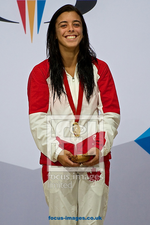 Meaghan Benfeito of Canada pictured with her gold medal following the Women's 10 Metre Platform Final on Diving Day Two at Royal Commonwealth Pool during Glasgow 2014 Commonwealth Games <br /> Picture by Ian Wadkins/Focus Images Ltd +44 7877 568959<br /> 31/07/2014