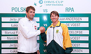 (L) Lukasz Kubot of Poland & (R) Rik de Voest of South Africa while official draw one day before the BNP Paribas Davis Cup 2013 between Poland and South Africa at MOSiR Hall in Zielona Gora on April 04, 2013...Poland, Zielona Gora, April 04, 2013..Picture also available in RAW (NEF) or TIFF format on special request...For editorial use only. Any commercial or promotional use requires permission...Photo by © Adam Nurkiewicz / Mediasport