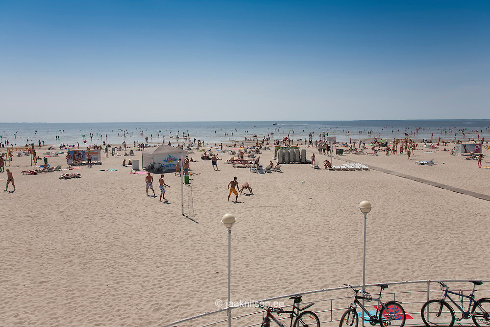 People on Pärnu Beach by Baltic Sea, Estonia