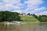 Elbschlösser, Elbe, Dampfer, Dresden, Sachsen, Deutschland.|.Elbe castles, Elbe, steamer, Dresden, Germany