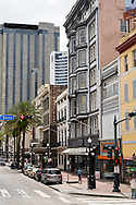 New Orleans, LA, USA -- May 24, 2019.  A vertical photo looking down St Charles Avenue in the Central Business District of  New Orleans, LA.