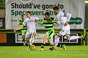 Forest Green Rovers Luke James(33) is tackled by Swansea City's Aaron Lewis during the EFL Trophy match between Forest Green Rovers and U21 Swansea City at the New Lawn, Forest Green, United Kingdom on 31 October 2017. Photo by Shane Healey.