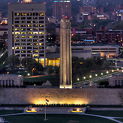 Kansas CIty's Liberty Memorial / National World War One Museum; midtown Kansas City, Missouri in background.