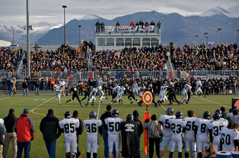 When the last of the leaves have fallen and snow begins to dust the tops of the Chugach mountains, it can't be a long time before Alaska's top high school teams meet up at the Anchorage Football stadium.