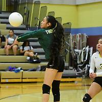 Photo: Jeffery Jones<br /> Thoreau Lady Hawk Malika Sam (1) bumps the ball to return a serve Tuesday night while playing an away game at Rehboth High School.