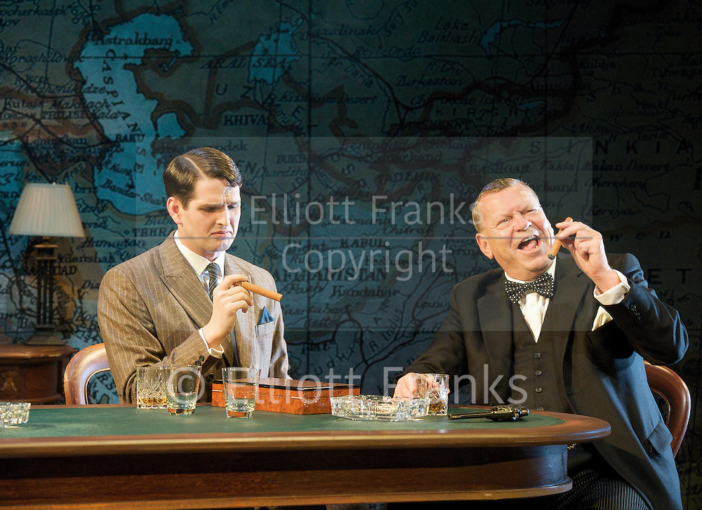 Three Days in May <br /> by Ben Brown <br /> at Trafalgar Studios, London, Great Britain <br /> press photocall<br /> 1st November 2011 <br /> <br /> Warren Clarke (as Winston Churchill)<br /> <br /> Jeremy Clyde (as Lord Halifax)<br /> <br /> Robert Demeger (as Neville Chamberlain)<br /> <br /> James Alper (as Jock Colville)<br /> <br /> <br /> Photograph by Elliott Franks
