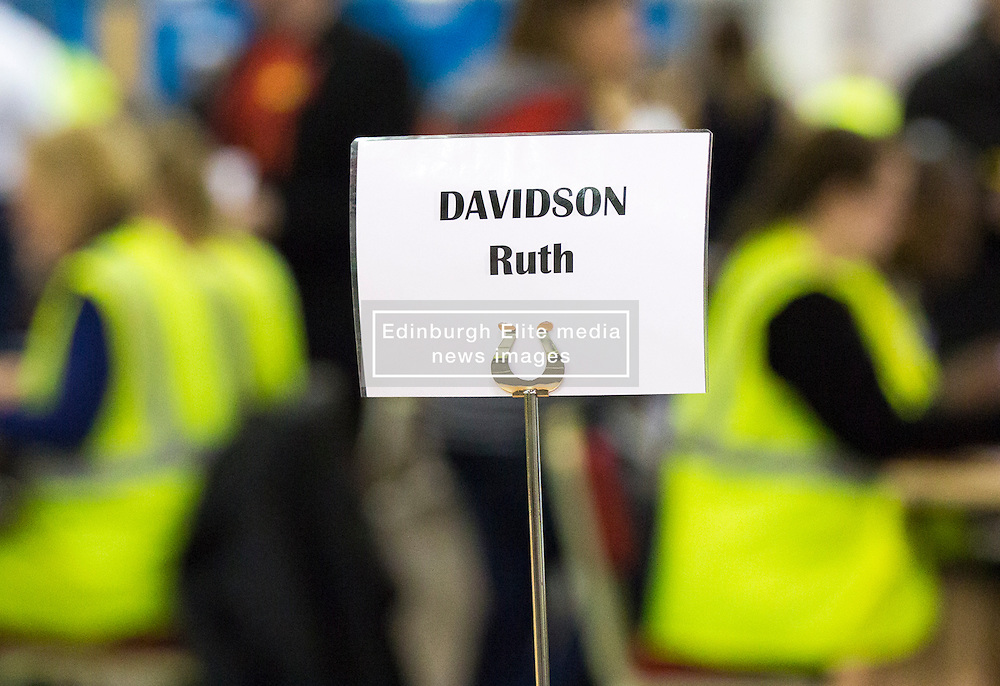 Scottish Parliament Election 2016 Royal Highland Centre Ingliston Edinburgh 05 May 2016; Ruth Davidson (Scottish Conservative leader) has a reserved seat during the Scottish Parliament Election 2016, Royal Highland Centre, Ingliston Edinburgh.<br /> <br /> (c) Chris McCluskie | Edinburgh Elite media