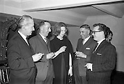 26/03/1963<br /> 03/26/1963<br /> 26 March 1963<br /> O'Kennedy Brindley Limited Annual Staff Dinner at the Gresham Hotel, Dublin. At the dinner were (l-r): Mr Desmond O'Kennedy, Managing Director; Mr R.M. O'Hanrahan, Director of O'K.B. (Cork) Ltd; Mrs Clodagh O'Kennedy (nee Phibbs); Mr. Anthony Kennedy (Radio Executive) and Mr. James Fagan, Accounts Executive (Cork office).