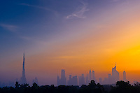 Dubai skyline with the Burj  Khalifa (tallest building in the world) on left, Dubai, United Arab Emirates