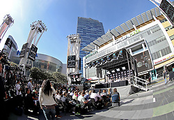 November 9, 2011; Los Angeles, CA; USA; The final press conference for the UFC on FOX at the Nokia Plaza featuring Cain Velasquez and Junior Dos Santos.  The two will fight Saturday night in the main event at the Honda Center in Anaheim, CA.