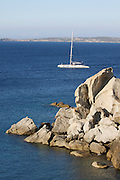 Sailing boats passing the rocks at Calvi.