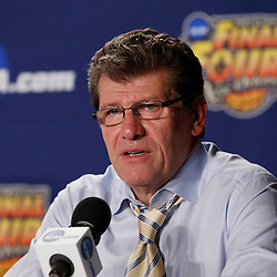 Apr 9, 2013; New Orleans, LA, USA; Connecticut Huskies head coach Geno Auriemma addresses the media in a press conference after the championship game in the 2013 NCAA womens Final Four against the Louisville Cardinals at the New Orleans Arena. Connecticut defeated Louisville 93-60. Mandatory Credit: Derick E. Hingle-USA TODAY Sports