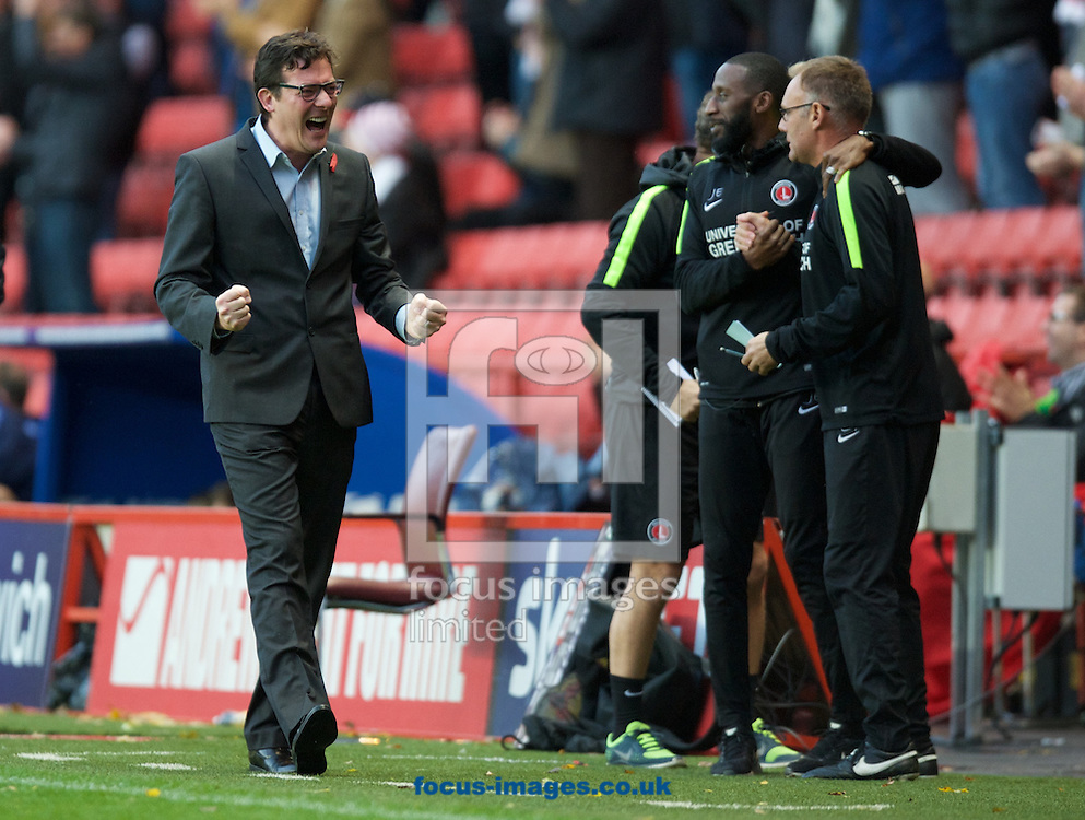 Interim Head Coach Karel Fraeye of Charlton Athletic celebrates after they score their 3rd goal to make it 3-0 score during the Sky Bet Championship match at The Valley, London<br /> Picture by Alan Stanford/Focus Images Ltd +44 7915 056117<br /> 07/11/2015