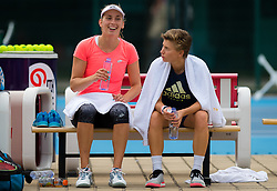 September 30, 2018 - Elise Mertens of Belgium & Demi Schuurs of the Netherlands during practice at the 2018 China Open WTA Premier Mandatory tennis tournament (Credit Image: © AFP7 via ZUMA Wire)