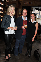 Left to right, OLIVIA HUNT, JAMIE MURRAY-WELLS and ALESSANDRA BALAZS at a party to celebrate the launch Mr Fogg's, 15 Bruton Lane, London W1 on 21st May 2013.