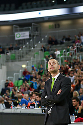 Gasper Potocnik, head coach of Union Olimpija, during basketball match between KK Union Olimpija Ljubljana and Telekom Baskets Bonn (GER) in Round 3 of EuroCup 2015/16, on October 28, 2015 in Arena Stozice, Ljubljana, Slovenia. Photo by Matic Klansek Velej / Sportida.com