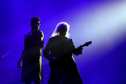 Adam Lambert and Brian May of Queen perform live on stage at The O2 Arena on December 12, 2017 in London, England.  (Photo by Simone Joyner)