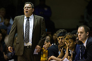 San Francisco State head coach Paul Trevor coaches from the sideline as his Gators take on the San Francisco Dons at Kezar Pavilion in San Francisco, Calif., on December 6, 2016. (Stan Olszewski/Special to S.F. Examiner)