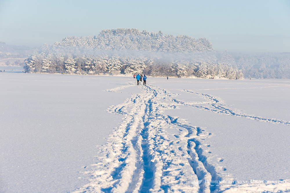 Norway, Stavanger. Skiing on Store Stokkavatn, close to the center of Stavanger. A cold day with frost smoke.