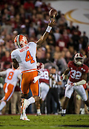 Clemson quarterback #4 Deshaun Watson throws a pass during the national championship game at Raymond James stadium in Tampa.