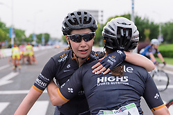 Amy Roberts congratulates stage winner, Chloe Hosking - Tour of Chongming Island 2016 - Stage 2. A 113km road race on Chongming Island, China on May 7th 2016.
