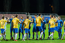 Players of both teams shaking hands before football match between NK Nafta and FC Koper in 19th Round of 2.SNL 2019/20, on November 23, 2019 in Športni park Lendava, Lendava, Slovenia. Photo by Blaž Weindorfer / Sportida