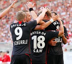 20.08.2011, Mercedes-Benz Arena, Stuttgart, GER, 1.FBL, VfB Stuttgart vs Bayer Leverkusen, Jubel Leverkusen nach dem 0-1 durch Stefan KIESSLING, Bayer Leverkusen.// during the match from GER, 1.FBL, VfB Stuttgart vs Bayer Leverkusen on 2011/08/20,  Mercedes-Benz Arena, Stuttgart, Germany..EXPA Pictures © 2011, PhotoCredit: EXPA/ nph/  A.Huber       ****** out of GER / CRO  / BEL ******