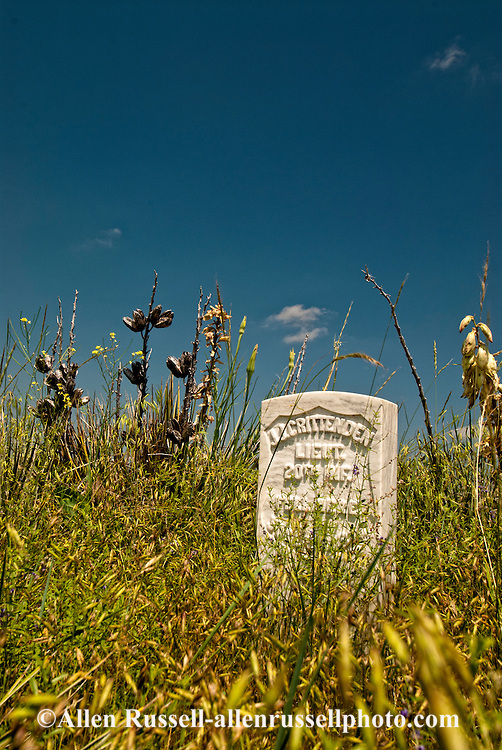 Little Bighorn Battlefield National Monument, Montana, marker for 7th Cavalry soldier
