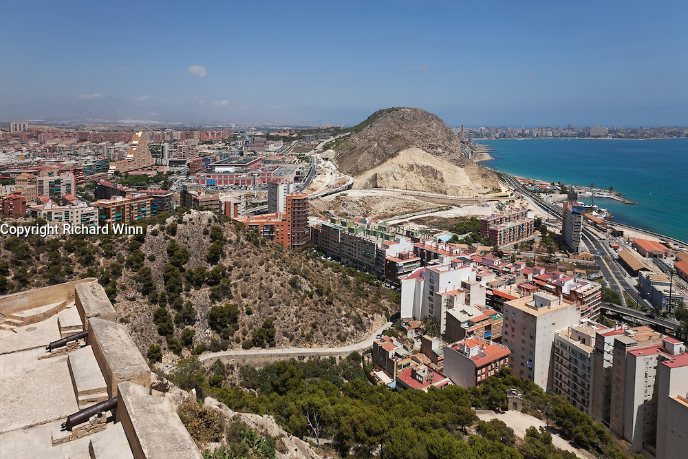 View of Alicante from Santa Barbara Caslte, looking northeast, showing the construction of a new rail system in 2010.
