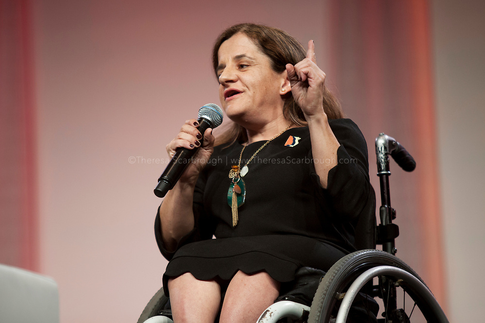 Detroit, Michigan, USA. 27th Oct, 2017. Colleen Flanagan, Co-Founder & Excutive Director for Disability Action for America, speaks during the Women's Convention held at the Cobo Center, Detroit Michigan, Friday, October 27, 2017