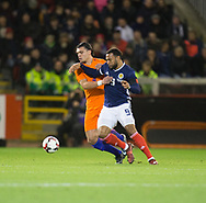 9th November 2017, Pittodrie Stadium, Aberdeen, Scotland; International Football Friendly, Scotland versus Netherlands; Scotland's Matt Phillips battles for the ball with    Holland's Karim Rekik