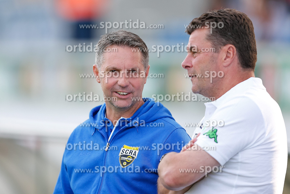 23.07.2014, Cashpoint Arena, Altach, Testspiel, SCR Altach vs VfL Wolfsburg, im Bild Damir Canadi, (Cashpoint SCR Altach, Trainer) und Dieter Hecking, (Vfl Wolfsburg, Trainer)// during the friendly Match between SCR Altach vs VfL Wolfsburg at the Cashpoint Arena, Altach Austria on 2014/07/23. EXPA Pictures © 2014, PhotoCredit: EXPA/ Peter Rinderer