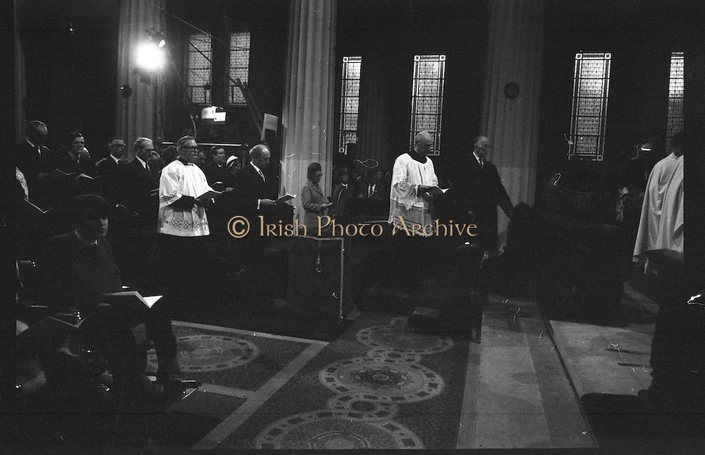 Archbishop Ryan Installed as Archbishop of Dublin..1972..27.02.1972..02.27.1972..27th February 1972..The installation of the Most Rev Dr Dermot Ryan as Archbishop of Dublin took place in The pro Cathedral,Dublin on Sunday 27th Feb 1972...Image of President Eamon DeValera,An Taoiseach Mr Jack Lynch TD and members of his government taking part in the installation of the new Archbishop,Dr Dermot Ryan.