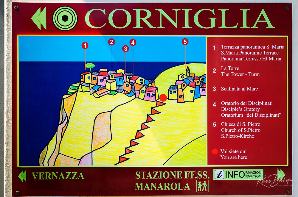 Interpretive sign in Corniglia, Cinque Terre, Liguria, Italy