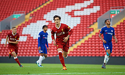 LIVERPOOL, ENGLAND - Tuesday, May 8, 2018: Liverpool's Yan Dhanda celebrates scoring the third goal, from a penalty kick, during the Under-23 FA Premier League 2 Division 1 match between Liverpool FC and Chelsea FC at Anfield. (Pic by David Rawcliffe/Propaganda)