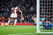 Arsenal's Bukayo Saka (87) sees his shot saved at point blank range during the Europa League group stage match between Arsenal and FK QARABAG at the Emirates Stadium, London, England on 13 December 2018.