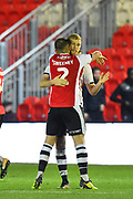 Goal - Jayden Stockley (11) of Exeter City celebrates scoring a goal to make the score 1-1 during the EFL Sky Bet League 2 match between Exeter City and Grimsby Town FC at St James' Park, Exeter, England on 29 December 2018.