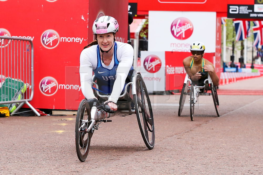 © Licensed to London News Pictures. 28/04/2019. London, UK. Tatyana McFadden finished second at the women's wheelchair race at the 2019 Virgin Money London Marathon. Photo credit: Dinendra Haria/LNP
