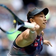 2017 U.S. Open Tennis Tournament - DAY SIX. Shuai Zhang of China in action against Karolina Pliskova of the Czech Republic during the Women's Singles round three match at the US Open Tennis Tournament at the USTA Billie Jean King National Tennis Center on September 02, 2017 in Flushing, Queens, New York City.  (Photo by Tim Clayton/Corbis via Getty Images)