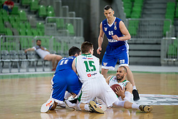 Ivan Batur of KK Rogaska and Jordan Morgan of KK Petrol Olimpija Ljubljana during basketball match between KK Petrol Olimpija and KK Rogaska in 1st Semifinal match of Liga Nova KBM 2017/18, on May 9, 2018, in Arena Stozice, Ljubljana, Slovenia. Photo by Urban Urbanc / Sportida