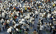 Nearly 1,500 people took part in the Kiwanis Club of Greater Anaheim's effort to break the world record for the largest pillow fight at the Anaheim Convention Center Saturday March 26, 2005.