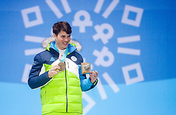 PYEONGCHANG-GUN, SOUTH KOREA - FEBRUARY 24: Bronze medalist Zan Kosir of Slovenia celebrates during the medal ceremony for Men's Snowboard Parallel Giant Slalom on day fifteen of the PyeongChang 2018 Winter Olympic Games at Medal Plaza on February 24, 2018 in Pyeongchang-gun, South Korea. Photo by Ronald Hoogendoorn / Sportida