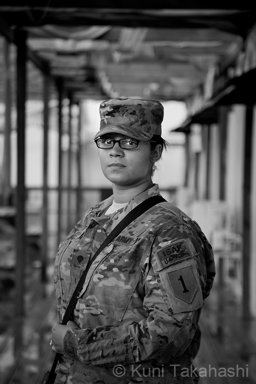 SPL Alexis Alexander, 23, of Fayetteville, NC.Bravo Co. Special Troops Battalion, 3-1 Infantry.at FOB Salerno in Afghanistan on Aug 12, 2011.(Photo by Kuni Takahashi)