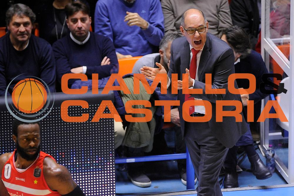 Attilio Caja<br /> Enel New Basket Brindisi - Openjobmetis Pallacanestro Varese<br /> Lega Basket Serie A 2016/2017<br /> Brindisi 12/02/2017<br /> Foto Ciamillo-Castoria