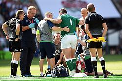 Cian Healy of Ireland is treated for an injury - Mandatory byline: Patrick Khachfe/JMP - 07966 386802 - 24/08/2019 - RUGBY UNION - Twickenham Stadium - London, England - England v Ireland - Quilter International